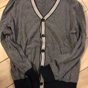 LS v-neck button down gray & blue stripe cardigan